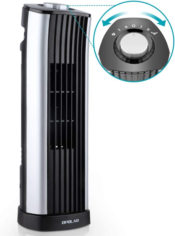 Oscillating Tower Fan, Portable Electric Desk Fan, Quiet Personal Cooling Fan,14 Inch, 2 Settings, Rotating Standing Fan Perfect for Home and Office