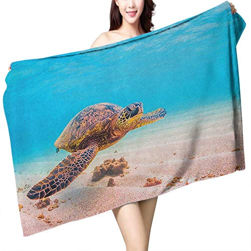 (Extra Long Bath Towel Turtle Hawaiian Green Sea Turtle Cruises in Warm Waters of The Pacific Ocean Photo W10 xL39 Suitable for bathrooms, Beaches, Parties)