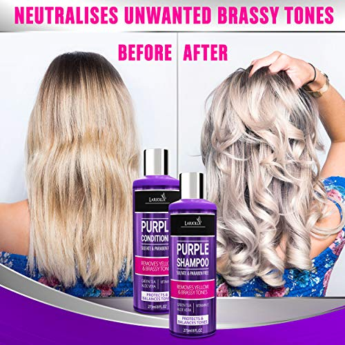 (2-PACK) Purple Shampoo and Conditioner for Blonde Hair - Blonde Shampoo for Silver & Violet Tones - Instantly Eliminate Brassiness & Yellows - Bleached & Highlighted Hair - Made in USA - 8oz