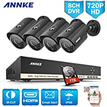 ANNKE 8-Channel Security Camera System 1080N Video DVR with 1TB HDD and (4) 1.0MP 1280TVL Outdoor Weatherproof Bullet Cameras, 36 IR LEDs with 100ft Night Vision, Metal Houising