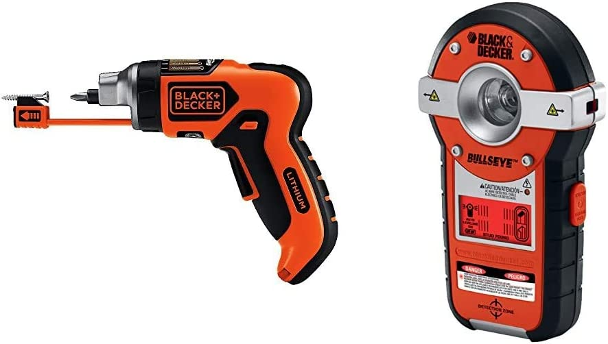 BLACK+DECKER Cordless Screwdriver with Screw Holder, SmartSelect, 6V with Line Laser, Auto-leveling, Stud Sensor Function (LI4000 & BDL190S)
