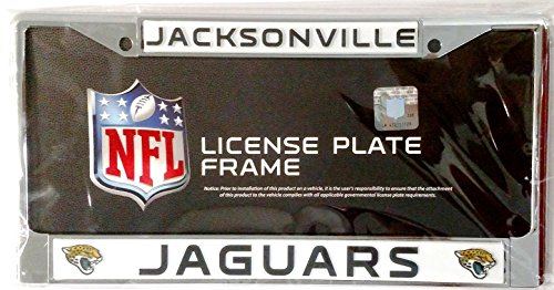 Jacksonville Jaguars New Design Chrome Frame Metal License Plate Tag Cover Football (Jacksonville Jaguars Plate)