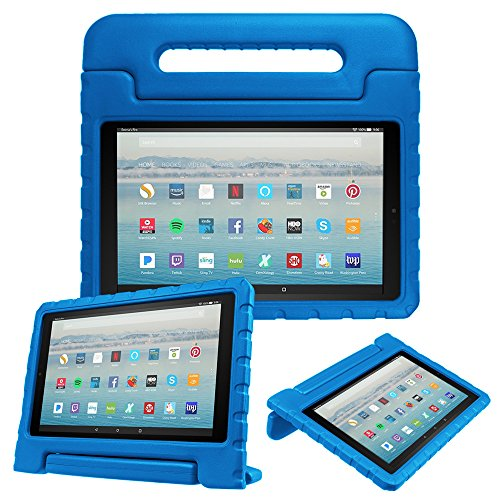 Fintie Case for All-New Amazon Fire HD 10 Tablet (7th Gen, 2017 Release) - Kiddie Series Shock Proof Light Weight Convertible Handle Stand Kids Friendly Cover for Fire HD 10.1' Tablet, Blue
