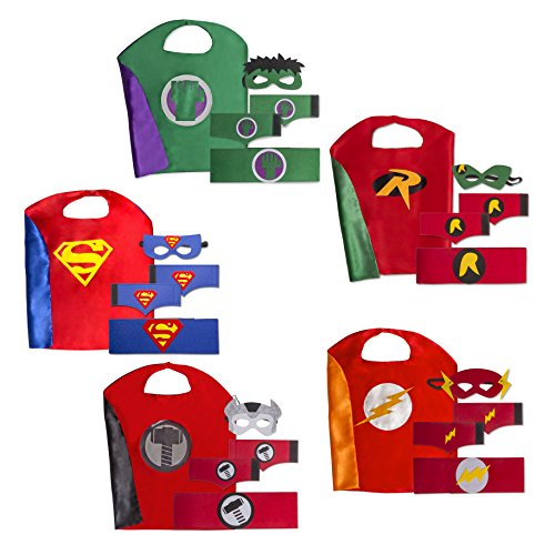[Boys Superhero Costume Set: (5 Masks, Belts Capes and 5 sets of Wrist Bands)] (Halloween Costumes For The Family)