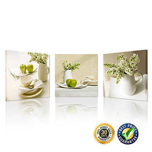 Creative Art - 3 Pieces Wall Art Green Apples Fruits Still Life with Flower Canvas Painting the Picture Print on Canvas Kitchen Wall Decor Gift (Square Box 16' Flower)