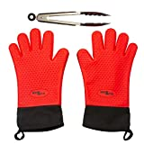 Extreme Heat Resistant BBQ Gloves - Insulated Silicone Barbecue Gloves for Grilling - Long Waterproof Oven Mitts for Cooking & Baking - Non Slip Kitchen Potholder for Frying - Superior Set with Tongs