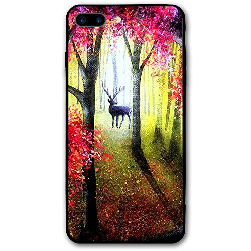 5.5Inch iPhone 8 Plus Case Colorful Forest Paintings Deer Animals Anti-Scratch Shock Proof Hard PC Protective Case Cover