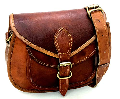 firu handmade women vintage Genuine Brown Leather Cross Body Bags Saddle Shoulder Satchel Handmade Multi Pocket Sling Purse