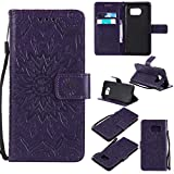 KKEIKO Galaxy S7 Edge Case, Galaxy S7 Edge Flip Leather Case [with Free Tempered Glass Screen Protector], Shockproof Bumper Cover and Premium Wallet Case for Samsung Galaxy S7 Edge (Purple)