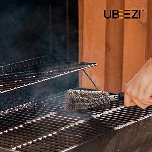 Heavy Duty Bristle Free BBQ Grill Brush - Safe on Gas, Charcoal, and Porcelain Grills - Barbecue Cleaning Scraper - Rust Proof Stainless Steel Design w/ Magnetic Temperature Guide & Canvas Storage Bag