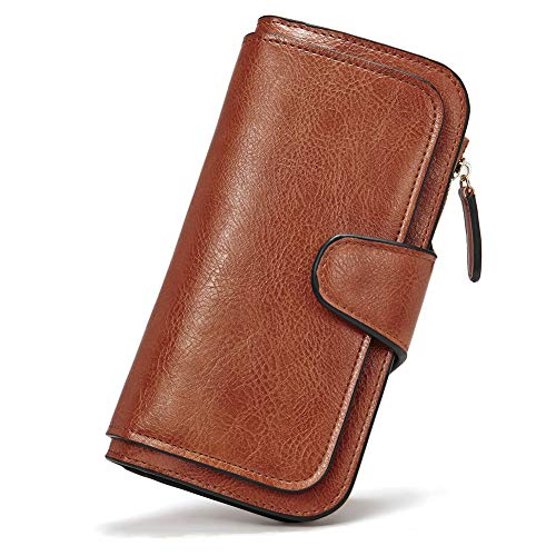 Wallet for Women Oil Wax Leather Designer Bifold Long Ladies Credit Card Holder Organizer Ladies Clutch Brown