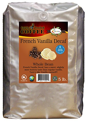 French Vanilla Decaf Everything Bean Coffee 5lb. - Fairly Traded, Naturally Shade Grown, Kosher Certified