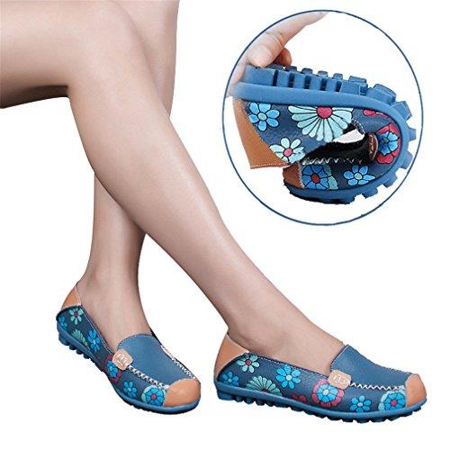 Pour Bleu Imprimé Chaussures dérapant Floral Semelle Marche Femmes Conduire Plates Mocassins Sur La Newzcers Soft Des Slip Plate Casual Les Anti xwqRRC1T