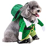 AMA(TM) Pet Dog Winter Jacket Coat Costume Puppy Cat Sweater Hoodie Hat Outfits Clothes Set (M, Green)