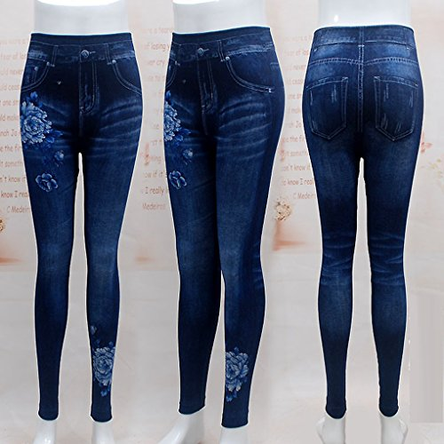 Femmes Mode Jeans Leggings Blue Poeny Slim Plus 2018 Size Pencil Krastal Print Denim 4wgE5ZWx