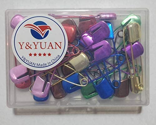 50pcs 53mm Baby Safety Large Plastic Locking Head Silver Metal Steel Pins Colour