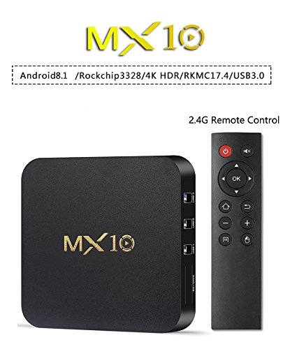 R-TV BOX Rockchip 3328 MX10 4G RAM 32G ROM Quad-core 64-Bit Android 8.1 USB 3.0 4K UHD WIFI TV BOX Media System