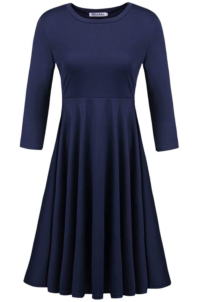 Qearal Women's 3/4 Sleeve Crew Neck Wear to Work A Line Dress (S, Navy Blue)