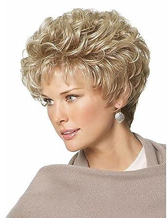 Pelucas europeos Moda Clásico Pelo Sintético Pixie pelucas corto pelo rizado pelucas Bionde para le Mujeres Pelucas De Cabello naturales con la flequillo: ...