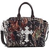 Mossy Oak Western Camo Studded Cross Tote Bag with Adjustable Removable Shoulder Strap