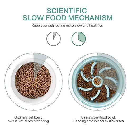 Ireenuo Futternapf für langsames Fressen, ungiftig, Puzzle-Napf, lustiges Futter, Blähen, stoppt langsames Füttern des Hundes (blau)