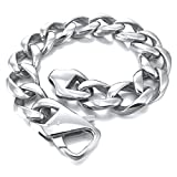 Epinki, Men's Large Heavy Stainless Steel Bracelet Link Wrist Silver Curb Polished