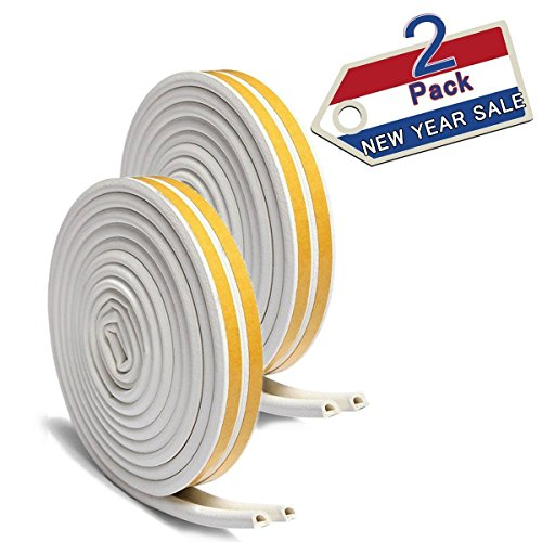 Door Window Kits - 33Ft Long Insulation Weatherproof Doors And Windows Soundproofing Seal Strip Collision Avoidance Rubber Self-Adhesive Weatherstrip ( Total 2 Pack White)