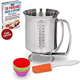 Stainless Steel Pancake & Cake Batter Dispenser Bundle with Measuring Label for Making Pancakes, Crepes & Waffles - Utilwise Baking Bundle with Silicone Cupcake Mold Cups and Small Spatula by Utilwise