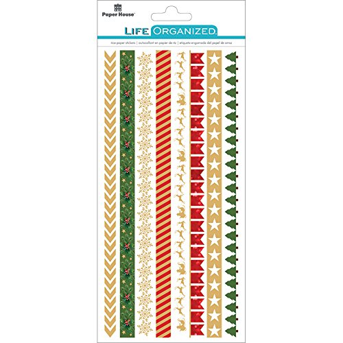 (Paper House Productions Christmas Stickers, Rice Borders, 3-Pack,)