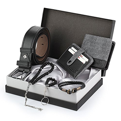 - Polo Air Men's Grey Accesories Gift Set Including (Wallet - Belt - Credit Card Holder - Key Chain - Bracelet - Bead Rosary-Box)