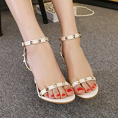 LvYuan Mujer-Tacón Stiletto-Confort Tira en el Tobillo Zapatos del club-Sandalias-Boda Vestido Fiesta y Noche-PU-Negro Blanco White