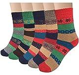 YSense Women's Thick Knit Warm Casual Wool Crew Winter Socks, 5 Piece