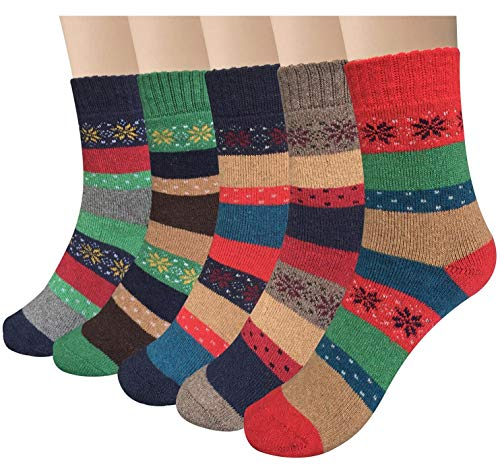 YSense Women's Thick Knit Warm Casual Wool Crew Winter Socks, 5 Piece ()