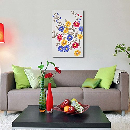 Beautiful Colorful Bouquet with Small Red Blue and Yellow Flowers Wall Decor ation
