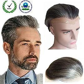Grey hair Toupee for men Hair pieces for men N.L.W. European virgin human hair replacement system for men, 10″ x 8″ human hair toupee men hair piece. PU+ Lace Base