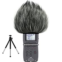 First2savvv TM-H5-D01G6 Outdoor Portable Digital Recorders Furry Microphone Mic Windscreen Wind Muff for Zoom H5 + mini stand