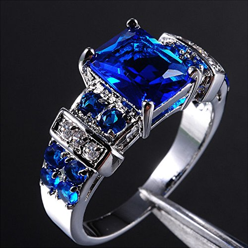 A.TATOON Size 8-12 Brand Jewelry 10KT White Gold Filled Blue Tanzanite Ring Gift For Love (10) (White Jewelry Tanzanite Ring Gold)