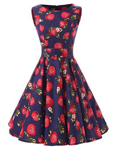 Ensnovo 50s Vintage Style Rockabilly Swing Picnic Evening Party Cocktail Dress Strawberry XS ()