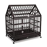 Gelinzon 42'' Heavy Duty Stainless Dog Cage Crate with Wheels and Tray[Update Version] (Black)