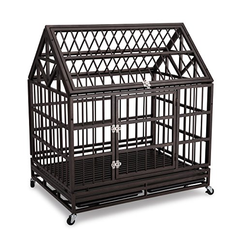 "Gelinzon Gelinzon 42"" Heavy Duty Stainless Dog Cage Crate with Wheels and Tray[Update Version] (Black) price tips cheap"