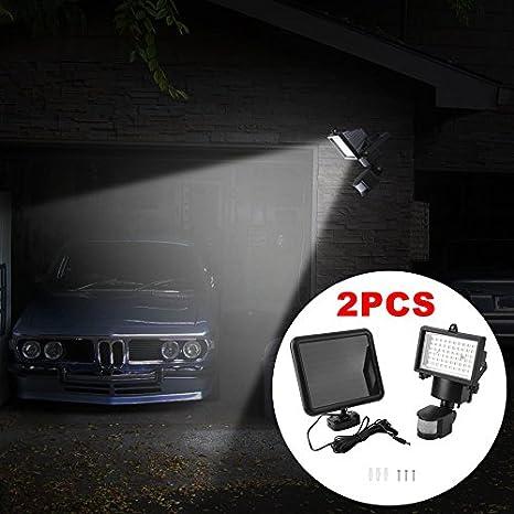 2 PC lámparas solares con sensor de movimiento para exterior, Foco con 60 LED de