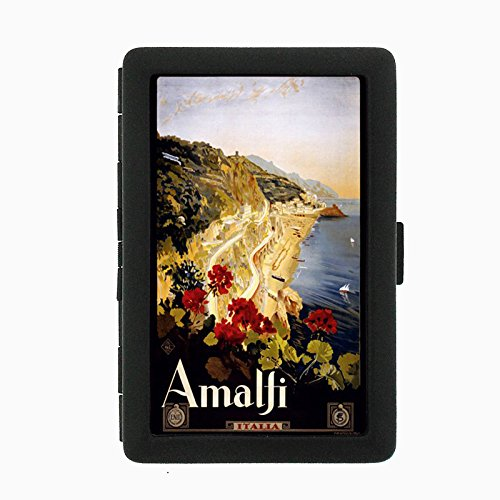 Perfection In Style Black Color Metal Cigarette Case D-021 ITALY VINTAGE TRAVEL Amalfi 1910