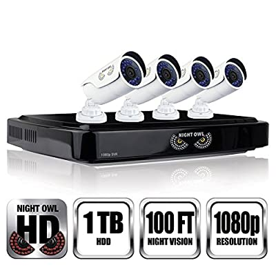 NIGHT OWL C-841-A10 8 Channel 1080P DVR Security System, 4 HD 1080p Cameras 1 TB HDD (Black DVR/White Cam)