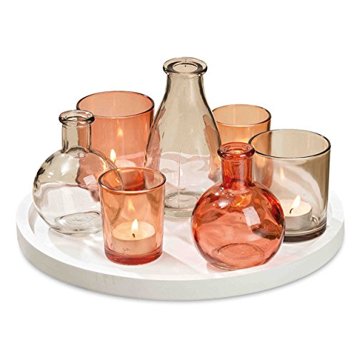 The Beach Chic Centerpiece Of Votives and Vases On A Circular White Tray, 8 Piece Set, For Candles And Flowers, Rustic Tangerine, Bright Orange, And Beige Glass, 11 Inches, By Whole House Worlds