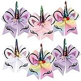 6Pcs Large Unicorn Hair Bows Grosgrain Bows Sequin Sparkly Glitter Girls Women Kids (Four Unicorn Bows)