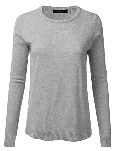 FLORIA Womens Crewneck Long Sleeve Soft Pullover Knit Sweater Top w/Ribbed Trim heathergrey (Ribbed Pullover Sweater)