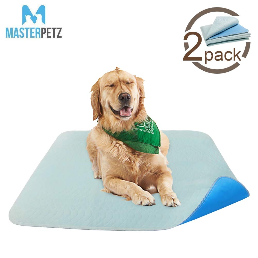 MASTERPETZ 2 Pack 34 x 36 inch Large Premium Waterproof Reusable Pet Mat   Quilted Washable Large Dog Puppy Training Travel Pee Potty Pads Whelping Pads with 4 Layer Design High Soaking Capacity