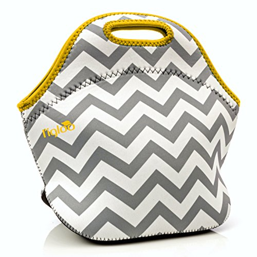 l'igloo Deluxe Neoprene Insulated Lunch Bag Extra Thick Insulated Lunch Box With Heavy Duty Zipper Lunch Bag, Snacks, Baby Bottle Bag, Bottle Carrier Six Pack (Gray chevron/yellow trim) Bottle Lunch Box