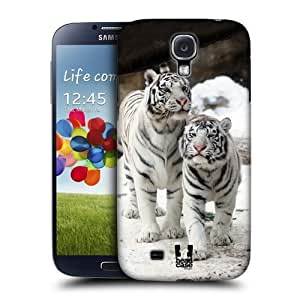AIYAYA Samsung Case Designs Two White Tigers Famous Animals Protective Snap-on Hard Back Case Cover for Samsung Galaxy S4 I9500