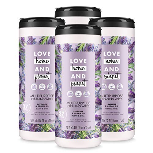 (Love Home & Planet Multi-Purpose Cleaning Wipes, Lavender & Argan Oil, 37 Count (Pack of 4))